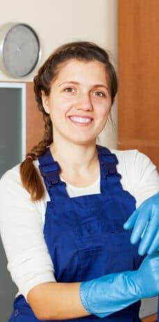 female cleaner smiling