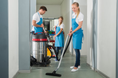 group of janitors cleaning